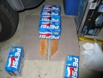 I call this the 'Who Dah? Pepsi technique' of holding down carpet for drying.