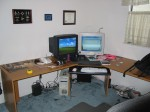 """ok, the desk extension just was NOT enough. the desk isn't loaded yet, but here's my new """"L"""" desk w/ the dual 21's..."""