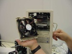 This fan moves so much air, he had to strap down the hard drives so they don't blow away.