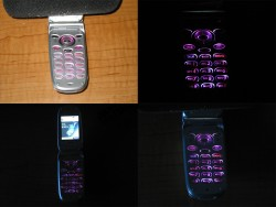 Here are some shots of the phone after the mod! I would have liked them to be a bit more purple, a bit less pink... But it is way cooler than the green and way brighter!