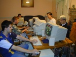 starting from rear right side: Whodah, WhatDah, HowDah, the kid from down the street, and WhyDah at the second LAN party we ever had =)