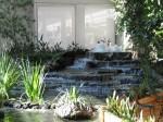 one of the waterfalls at an indoor massive garden.