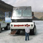 this is what they called a snowcat there. this massive snow bus took us from the base of the glacier to quite a ways up! it was huge eh!