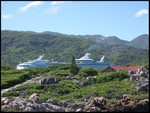 Our ship 'Navigator of the Seas' from the private section of the island.