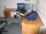 no fancy draweres, filing cabinets, hutches... just a huge desk space!
