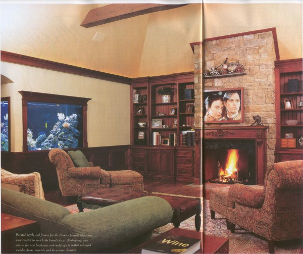 nice home theatre. not the best of the bunch, but something i may target w/ a plasma above the fireplace and an aquarium in the room too - Audio Video Interiors, April 2003