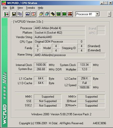 AMD TBird 1.333@1600mhz  After Redoing Windows 2K, this overclock isnt even a strain. :)