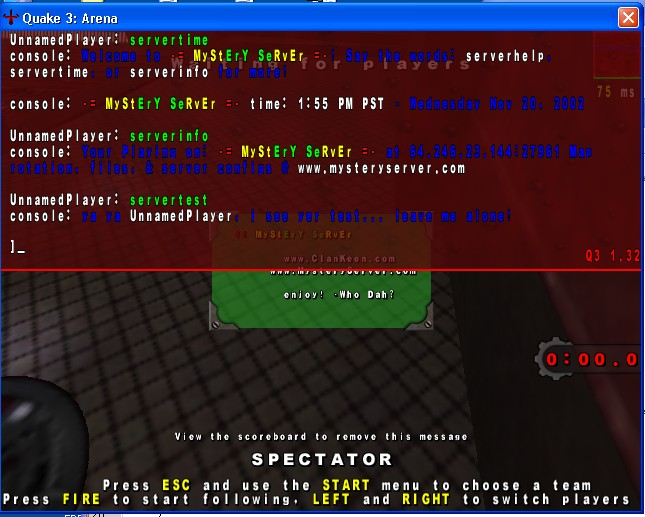 serverinfo: a quake script initiated by ronr that will allow interactive communication w/ the server console. most game support this natively, but not q3, ohhh no! heh