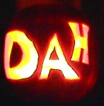 Close up of What Dah?'s award winning DAH pumpkin!