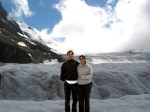 the wife and i on the glacier that is moving some 8 inches a year.