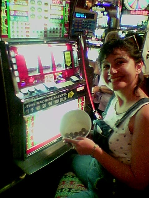 Here you see Priscilla turning the $3 of won nickles into quarters, then turning that $3 quarters into $8 of quarters in less than 5 minutes. I don't have a picture of when she lost it ALL plus another $7.50 out of her pocket!