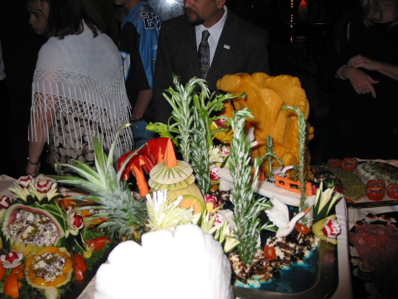 Some fancy fruit and in the background a giant cheese fish... I don't know..  but it was cool!