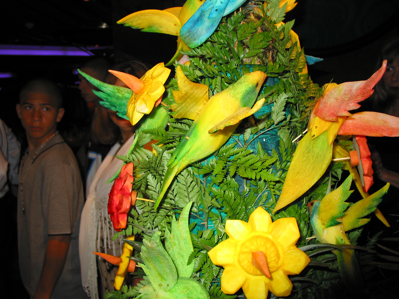 These birds are made out of mango fruit!