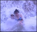 Who Dah? and Mrs. Who Dah? playin in the falls in Jamaica! I was sunburned pretty bad that day, had to wear a shirt, heh!